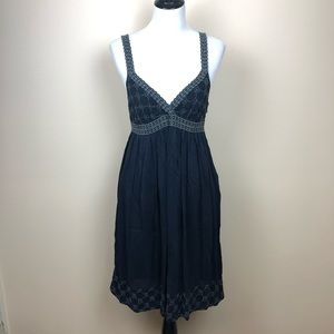 Johnny Was Collection navy embroidered dress